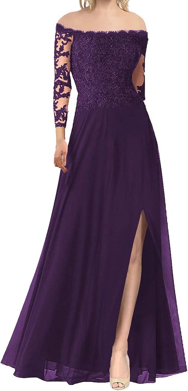 Mother of The Bride Dresses Long Evening Formal Dress Off The Shoulder Beaded Lace Applique