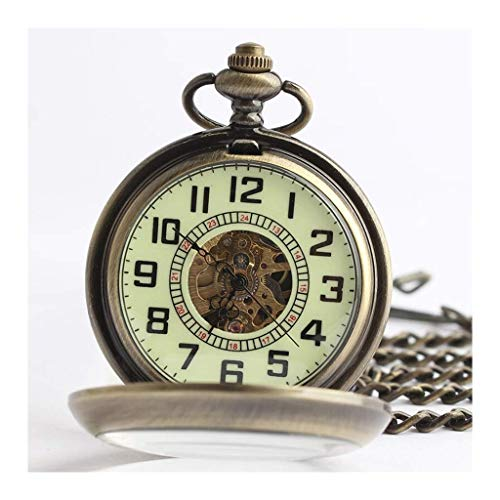 Men's Pocket Watch, Vintage Flip Openwork automatische mechanische Vergrootglas digitale weegschaal, als cadeau for Vaderdag/Moederdag/Anniversary 123 Klassiek stijlvol zakhorloge. (Color : A)