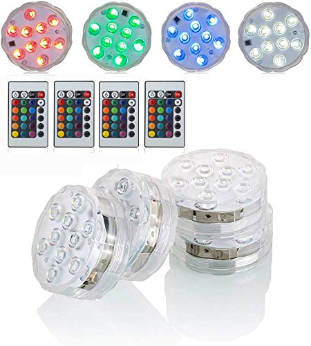 Submersible LED Lights with Remote Battery Powered RGBW MultiColor Changing Waterproof Light for Vase Floral Aquarium Pond Wedding Halloween Party Kayak Hookah Centerpiece Pool Accent Lighting