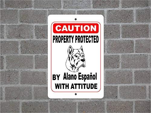 Fhdang Decor Metallschild, Metallschild, Motiv Property Protected by Alano Español, Warnung, Hof, Zaunschutz, Hunderasse, 30,5 x 45,7 cm