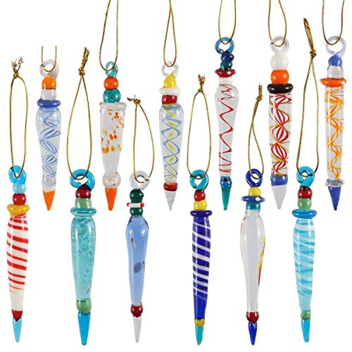 JOYIN Set of 12 Colorful Glass Icicle Ornaments for Christmas Tree Decorations with Different Designs