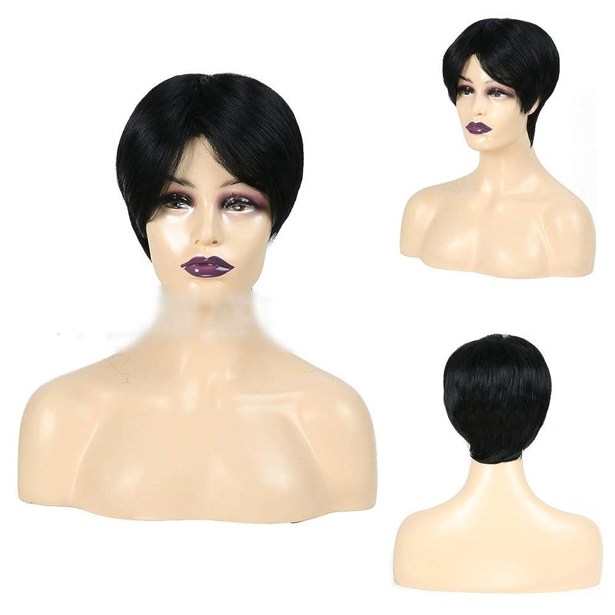 どっちでも外観抗生物質HOHYLLYA 前髪の女性の毎日の黒髪用ボブウィッグショートボブの髪かつら 人工毛パーティーのかつら (色 : 黒)