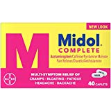 Midol Complete, Menstrual Period Symptoms Relief Including Premenstrual Cramps, Pain, Headache, and Bloating, Caplets, 40 Count, Packaging May Vary