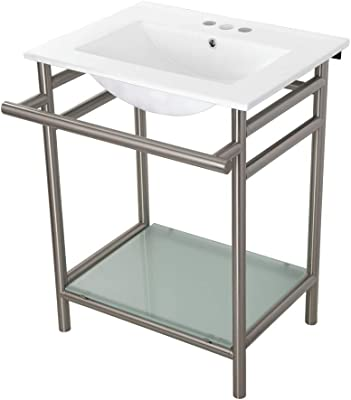 Renovator S Supply Console Sink White Porcelain Grade A Vitreous China Belle Epoque With Black Nickel Legs Amazon Com