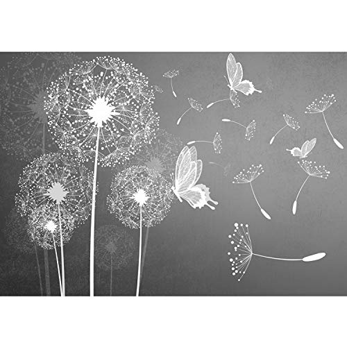 Vlies Fototapete PREMIUM PLUS Wand Foto Tapete Wand Bild Vliestapete - Pusteblume Blume Pflanze Schmetterling Malerei - no. 1430, Größe:368x254cm Vlies