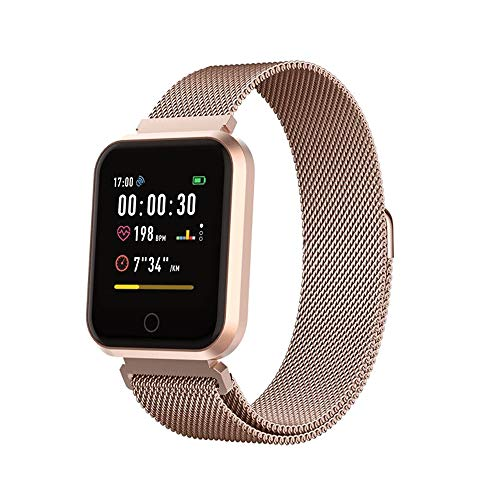 Forever Smartwatch, fitnesstracker met bluetooth, hartslagmeter, slaapanalyse, activity monitor, fitness tracker, waterdicht IP65, compatibel met Android, iOS, voor dames en heren, roze goud