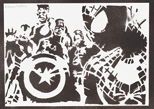 Spiderman Poster The Avengers Plakat Handmade Graffiti Street Art - Artwork