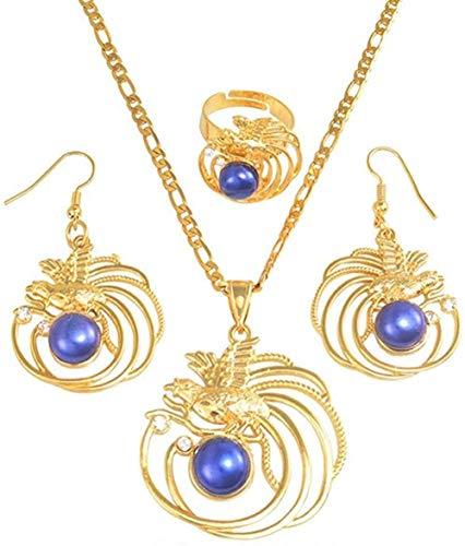 TYWZH Collar Azul Perla Pájaro Colgante Collares Pendientes Anillo Papúa Guinea Ropa Joyería Regalos Longitud 45Cm X 3Mm N