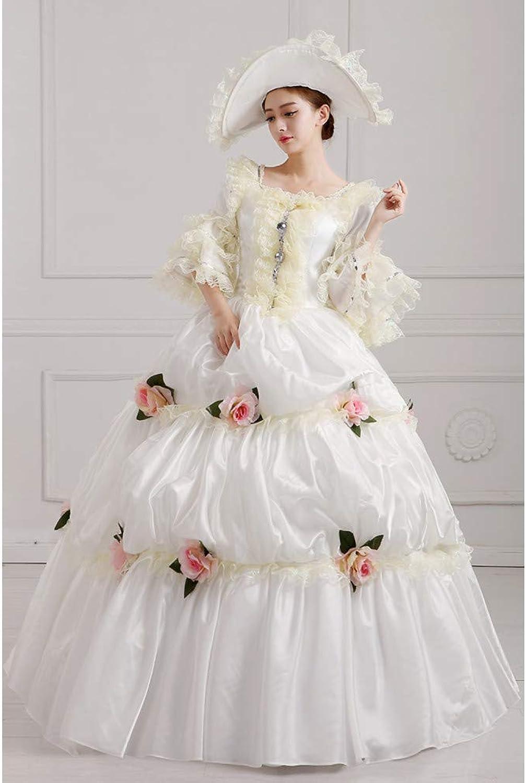 QAQBDBCKL Hot Beige Long Dress Halloween Court Dress Royal Court Costume For Women Queen Make Up Party Clothing