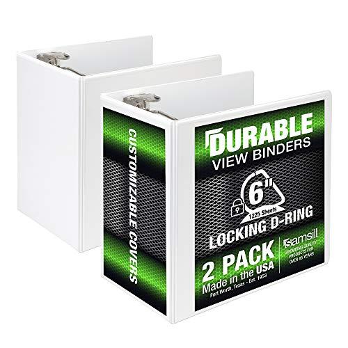 Samsill Durable 6 Inch Binder White D Ring Binder/Customizable Clear View Binder/Bulk Binder 2 Pack/White 3 Ring Binder 6 inch Binders (MP2X6427)