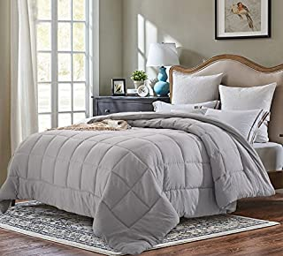 EVOLIVE All Season Pre Washed Soft Microfiber White Goose Down Alternative Comforter (Grey, Twin)