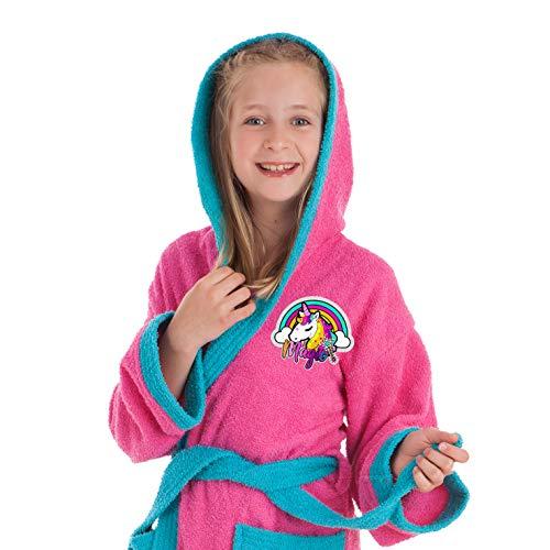 DHestia Peignoir pour fille 100 % coton Motif arc-en-ciel licorne avec capuche et poches (10 à 12 ans)