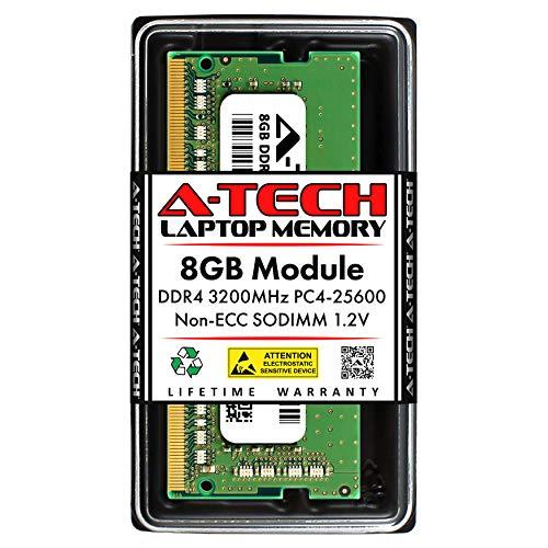 A-Tech 8GB DDR4 3200MHz SODIMM PC4-25600 Non-ECC Unbuffered CL22 1.2V 260-Pin SO-DIMM Laptop Notebook Computer RAM Memory Upgrade Module