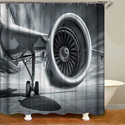 ZZZdz Grauer Himmel. Flugzeug. Duschvorhang: 180 X 180 cm. Wasserdichter Stoffteppich Für Duschvorhang. Bad Duschvorhang Set Polyesterfaser Bad Duschvorhang.