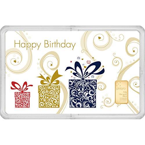 Geschenkkarte Geburtstag mit Goldbarren 0,5g philoro Feingold 999.9 LBMA zertifiziert