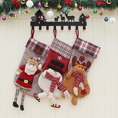 Calcetines de Navidad afelpados de tamaño grande, diseño en 3D de muñeco de nieve, de Papá Noel y de reno para decoración navideña