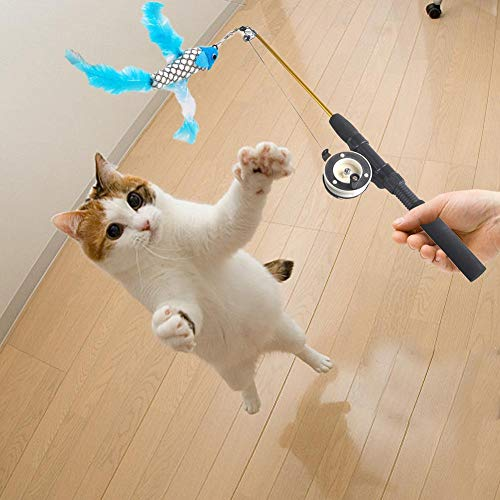 Haustier SpielzeugKatzenspielzeug Interagiert Mit Einer Glocke Elastischen Stange, Es Gibt Eine Lustige Katzenmaus Kürbisfeder Küken Fisch Maskottchen Katze Liefert