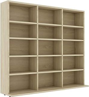 vidaXL CD Cabinet Storage Rack Display Shelf Bookshelf Bookcase Stand Book Multimedia DVD Organiser Living Room Office Chi...