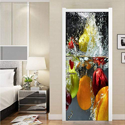 3D Türtapete Selbstklebend Türposter,Türaufkleber Modernen Minimalistischen Kreativen Obst Restaurant Küche Schlafzimmer Pvc Wasserdicht Selbstklebende Tür Dekoration Aufkleber