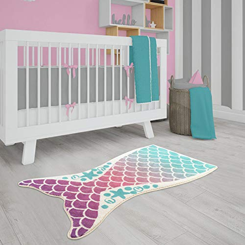 "LIVEBOX Play Mat, Faux Wool Kids Play Area Rugs Mermaid 3"" x5"" Non-Slip Childrens Carpet for Living Room Bedroom Decoration Playroom Nursery Crawling Mat Best Shower Gift"