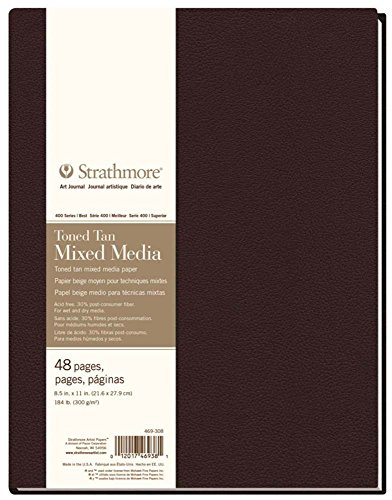 Strathmore 469-308 Hardbound Mixed Media Art Journal, 8.5' x 11', Toned Tan, 48 Pages