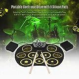 Drum Instrumento Musical Gtf/Juguete/Portable Electronic Drum Set Enrollar el Kit Del Tambor 9 Silicon Pad Usb Accionado con Pedales Palillos Del Usb para Estudiantes de Los Cabritos,Amarillo Neg