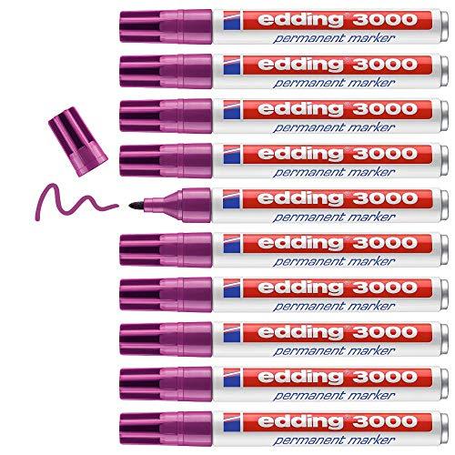 edding 3000 Permanentmarker - rotviolett (lila) - 1 Stift - Rund-Spitze 1,5-3 mm - schnell trocknender Permanent Marker - wasserfest wischfest - für Karton Kunststoff Holz Metall - Universalmarker
