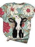 Mujeres Gatos Coloridos Conejo Conejo Burro Perro Pescado Camiseta Estampado gráfico Manga Corta Cuello Redondo Camiseta Divertida Tops Verano...