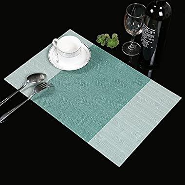 Placemats,Famibay Heat Insulation PVC Placemat Stain-resistant Crossweave Woven Table Mats for Kitchen Set of 4 (4, Vertical Striped Turquoise)