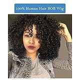 SEGO Parrucca Capelli Veri Donna Human Hair Wigs Ricci Parrucche Corte BOB Nera Senza Lace 100% Remy Wig Umani Curly 30cm Pesa 165g - Nero Naturale
