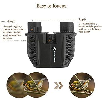 Mounchain 10X25 Compact Binoculars Waterproof Foldable Low Light Night Vision