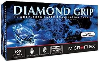 Microflex 5762C60CS Diamond Grip Latex Glove, Powder Free, 9.6