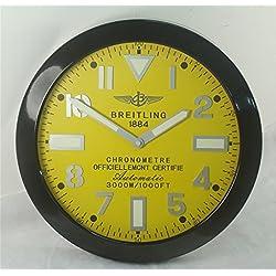 Breitling Luminous Silent Sweep Wall Clock, Black+Yellow