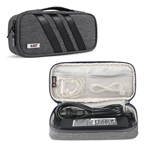 BUBM Carrying Bag for AC Adapter, Travel Organizer for Laptop Charger, Pouch Cover Case for Power Cord and Other Accessories, Gray