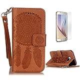 CaseHome Compatible with Samsung Galaxy S6 Coque en Cuir Motif Livre Stylé Folio Flip Portefeuille Pochette Désign Protecteur...