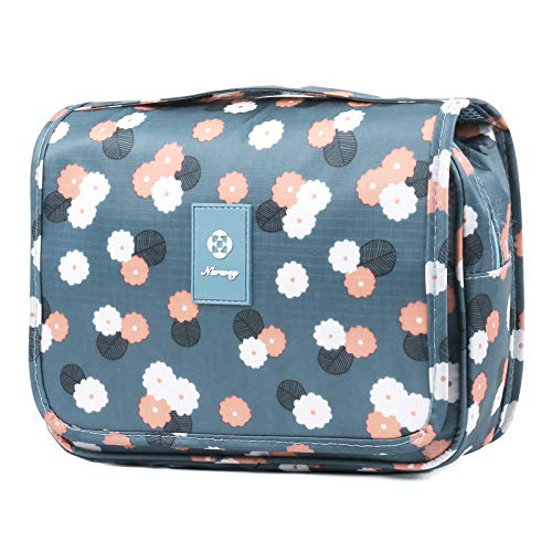 Hanging Travel Toiletry Bag Cosmetic Make up Organizer for Women and Girls (Blue Flower)