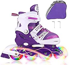 JIFAR Youth Children's Inline Skates for Kids, Adjustable Inline Skates with Light Up Wheels for Girls Boys, Indoor&Outdoo...