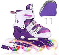 Adjust size:Our inline skates have 2 different Unisex size(Small -12J-2 US and Medium -2-5 US) and color can be chosen for your kids, please make sure to choose the correct size via checking enclosed size chart pictures . And do not forget to adjust ...