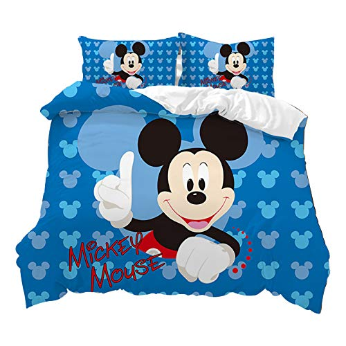 Fgolphd Disney Mickey & Minne - Juego de ropa de cama, 100% microfibra, fundas de almohada y fundas de edredón, impresión 3D, microfibra, juego de funda nórdica para niños y adultos (220 x 240 cm, 15)