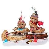 H.aetn Mini 11 'Kits de muñecas de bebé realistas Negras Reborn Silicona de Cuerpo Completo Gemelos Indios nativos Americanos