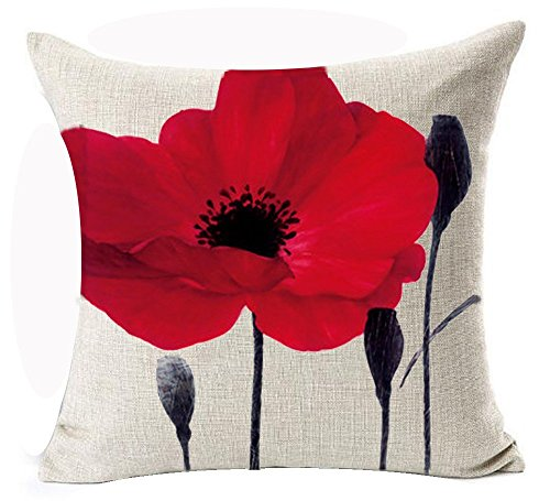 Beautiful Charming Watercolor Oil Painting Red Poppy Sweetheart Cotton Linen Throw Pillow Case Cushion Cover New Home Office Indoor Decorative Square 18 X 18 Inches