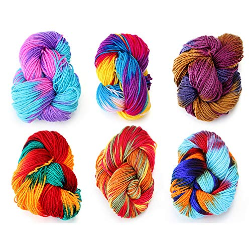 Multi-Colored Hand Knitting Yarn, Hand-Knitted Acrylic Fibers Yarn, Soft Fibre Dyed, Perfect for Making Hats, Scarves, Blankets, Children's Socks, Various Crafts (6-Pack)