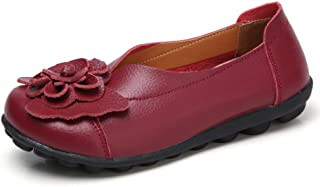 NYUETE Women's Slip on Loafers Leather Flats Comfortable Walking Shoes Red Wine Size 8