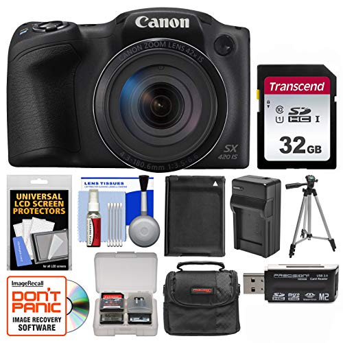 Canon PowerShot SX420 is Wi-Fi Digital Camera (Black) with 32GB Card + Case + Battery & Charger + Tripod + Kit