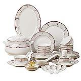 WZHZJ Conjuntos de cenas Conjunto de vajillas de cerámica Hueso China Vajilla Tazones y Platos Home Hotel Restaurant Ceramic Set para el hogar