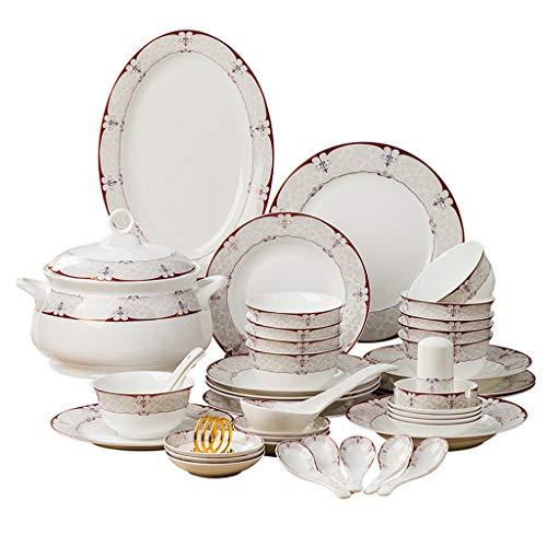 ZLDGYG Conjuntos de cenas Conjunto de vajillas de cerámica Hueso China Vajilla Tazones y Platos Home Hotel Restaurant Ceramic Set para el hogar