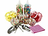 Ensemble pour buffet de bonbons Vintage Style victorien–8bocaux et sacs à rayures noires