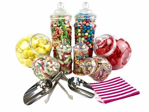 Top Star Vintage Victorian Pick & Mix Candy Buffet Kit–Confezione da 8vasetto con Strisce Borse Pink