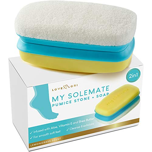 Foot Scrubber Pumice Stone for Feet by Love Lori - 2 in 1 Moisturizing Soap and Callus Remover - Lemongrass Cracked Heel Treatment Foot Exfoliator