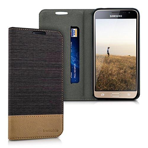 kwmobile Cover Compatibile con Samsung Galaxy J3 (2016) DUOS - Custodia Flip a Libro in Pelle PU e Tessuto - Stand Case Protettiva con Supporto